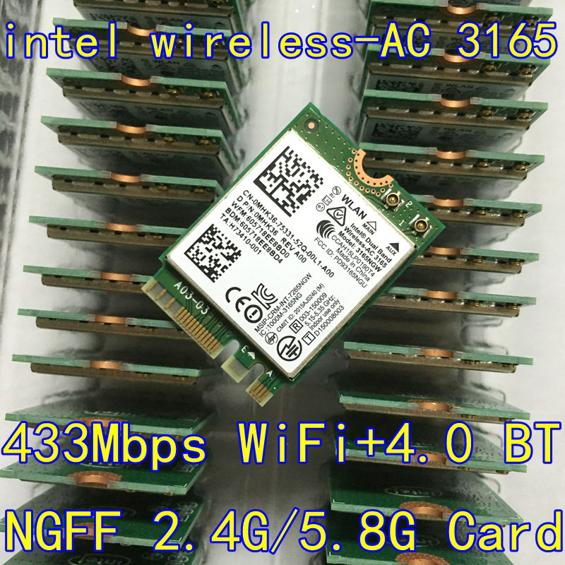 intel 3165 3165NGW 3165AC Dual Band fără fir AC + Bluetooth4.2 Mini NGFF card wifi 802.11AC 4.2 433Mbps Card fără fir NGFF 3160