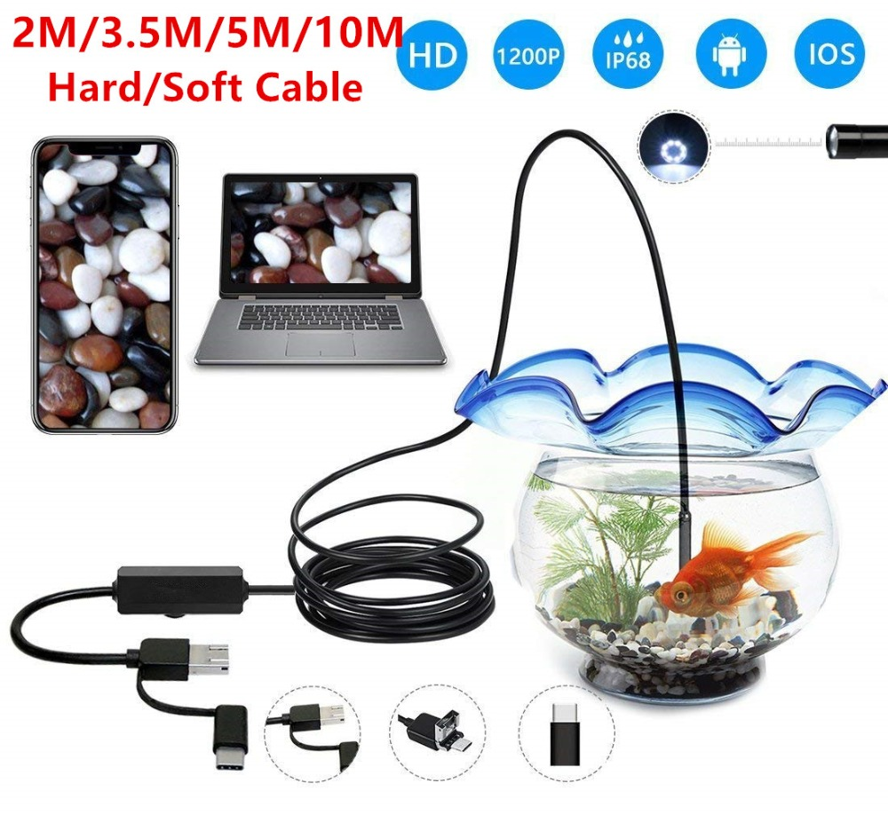 3 in 1 USB Endoscope Hard/Soft Cable 1200P Borescope Inspection Camera For Android Type-c PC Waterproof Snake Camera 2/3.5/5/10M image