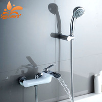 New Style Bathroom Bathtub Faucet WaterFall Tub Faucet Hot And Cold Water Mixer Faucets Paint White