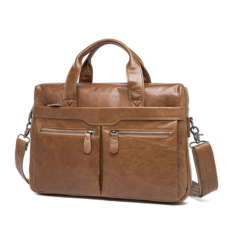Luxury 100% Guarantee Natural Genuine Leather Bag Vintage Handbag 14 Laptop bag Soft Light Cowskin  Business Briefcase guarantee genuine leather vintage style briefcase jmd business laptop bag 7085c 1
