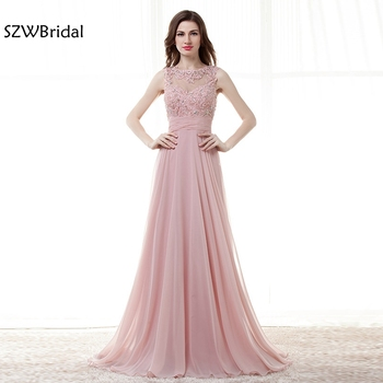 New Arrival abendkleider Chiffon Cap sleeve Long evening dress 2020 Beaded Lace Formal dress Evening party robe de soiree