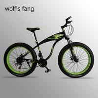 Wolf fang fahrrad mountainbike Fett Bike 21 geschwindigkeit rennräder Mann Aluminium Legierung Vorne und Hinten Mechanische Scheiben bremse-in Fahrrad aus Sport und Unterhaltung bei