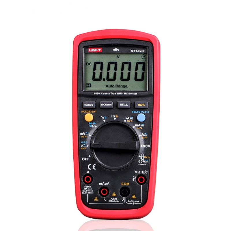 UNI-T UT139C Digital Multimeter Auto Range True RMS Meter Handheld Tester 6000 Count Voltmeter Temperature Test transistor aimo m320 pocket meter auto range handheld digital multimeter