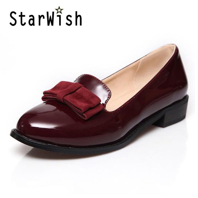 STARWISH Women Patent Leather Loafers Round Toe Women Flats England Style Bow Oxfords For Women Ladies Casual Flat Shoes Size 43