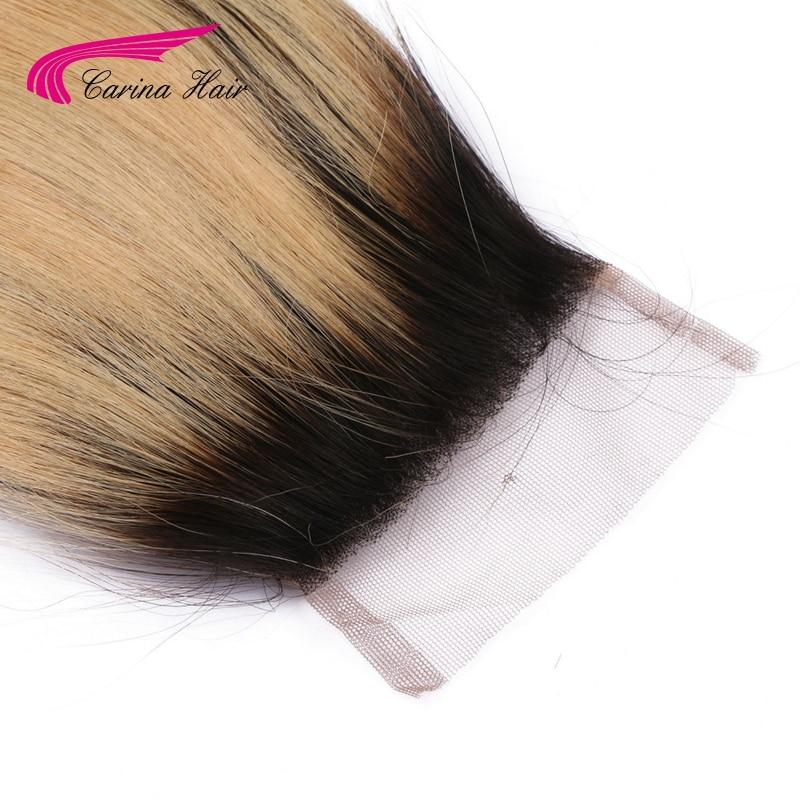 Carina Hair Ombre Color Brazilian Remy Human Straight 1b / 27 # 4 * 4 - Մարդու մազերը (սև) - Լուսանկար 4