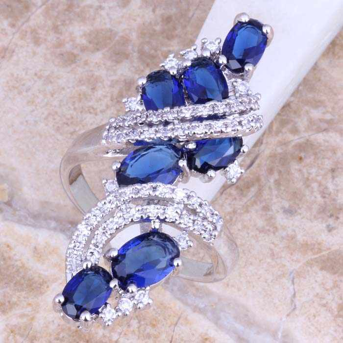 Captivating Blue  Cubic Zirconia White CZ 925 Sterling Silver Ring For Women Size 5 / 6 / 7 / 8 / 9 / 10 / 11 / 12 S0440