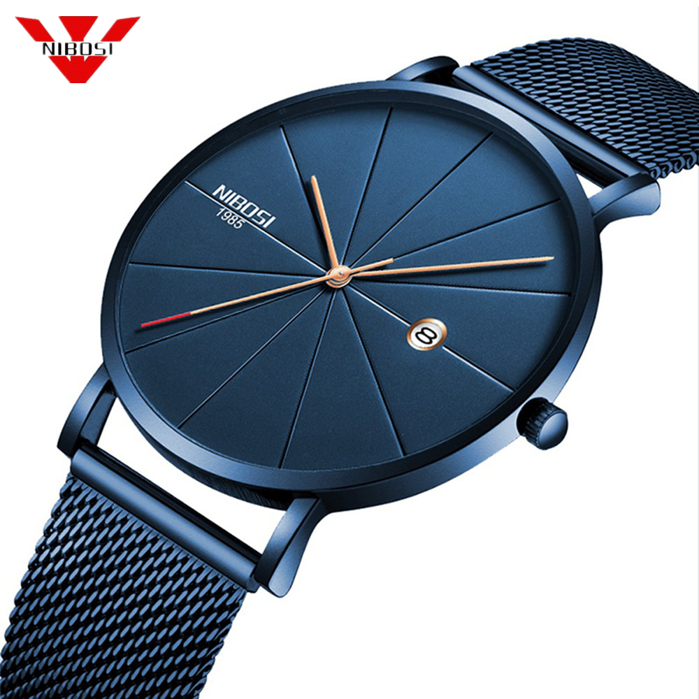 NIBOSI Minimalist Men's Fashion Ultra Thin Watches Simple Men Business Stainless Steel Mesh Belt Quartz Watch Relogio Masculino