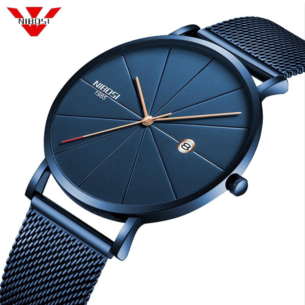 NIBOSI Minimalist Men's Fashion Ultra Thin Watches Simple Men Business Stainless Steel Mesh Belt Quartz Watch Relogio Masculino