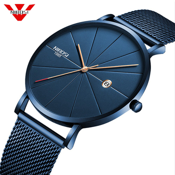 NIBOSI Minimalist Men's Fashion Ultra Thin Watches Simple Men Business Stainless Steel Mesh Belt Quartz Watch Relogio Masculino - discount item  39% OFF Men's Watches