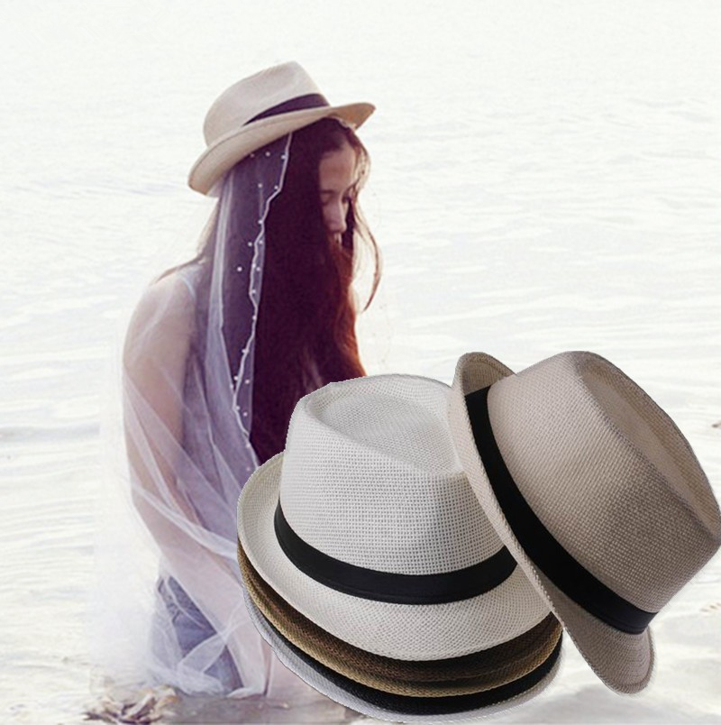 2016 Fashion Straw Women's Men's Summer Sun Hats Fedora ...