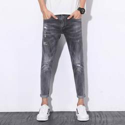 Джинсы с дырками, новые весенне-летние модные Стрейчевые мужские брюки