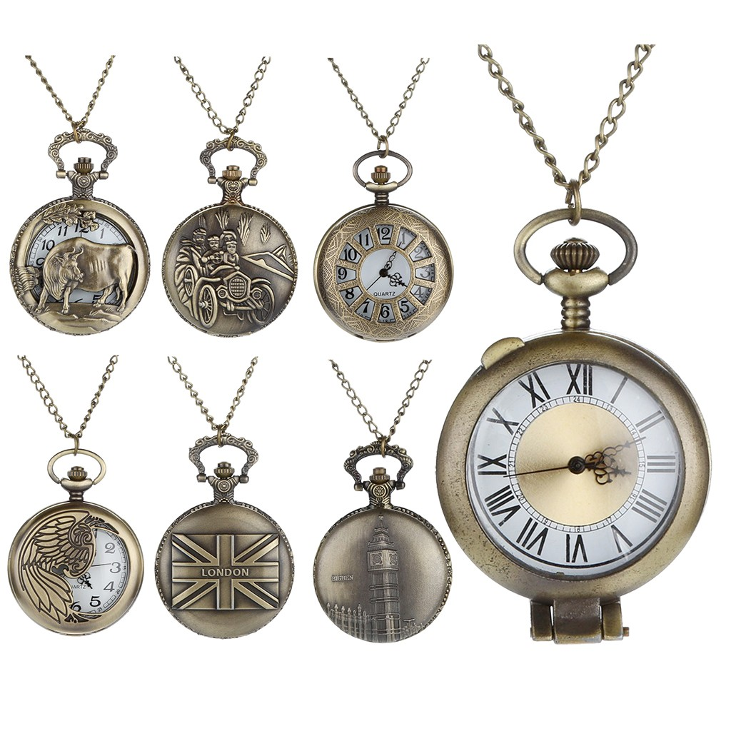 Personalized Pattern Steampunk Vintage Quartz Roman Numerals Pocket Watch Man Woman Kid Gift Necklace Clock Couple Old Man Watch