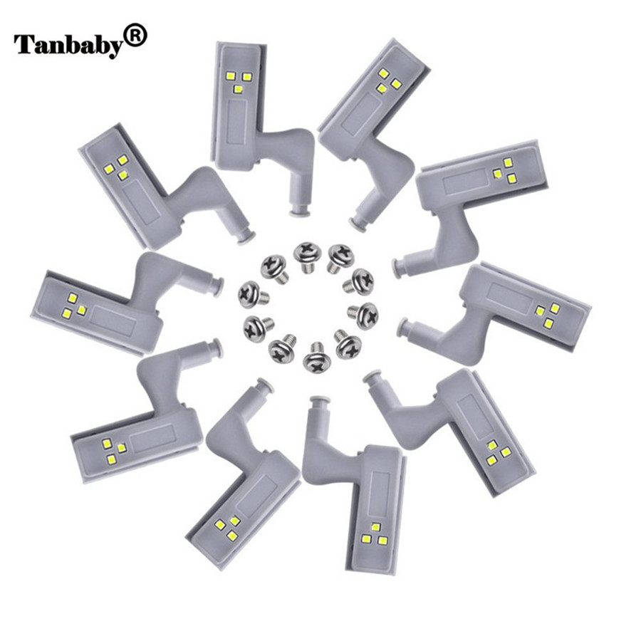 Tanbaby 10PCS Mini Night Lamp 0.25W Universal Cabinet Cupboard Hinge LED Light For Bedroom,Modern Kitchen Home Lamp,White