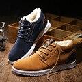 Invierno de Los Hombres Guardan Los Zapatos Calientes Del Algodón de La Manera Ocasional con cordones de Los Hombres Pisos Gamuza Felpa Zapatos Casuales Térmica de algodón acolchado Zapatos