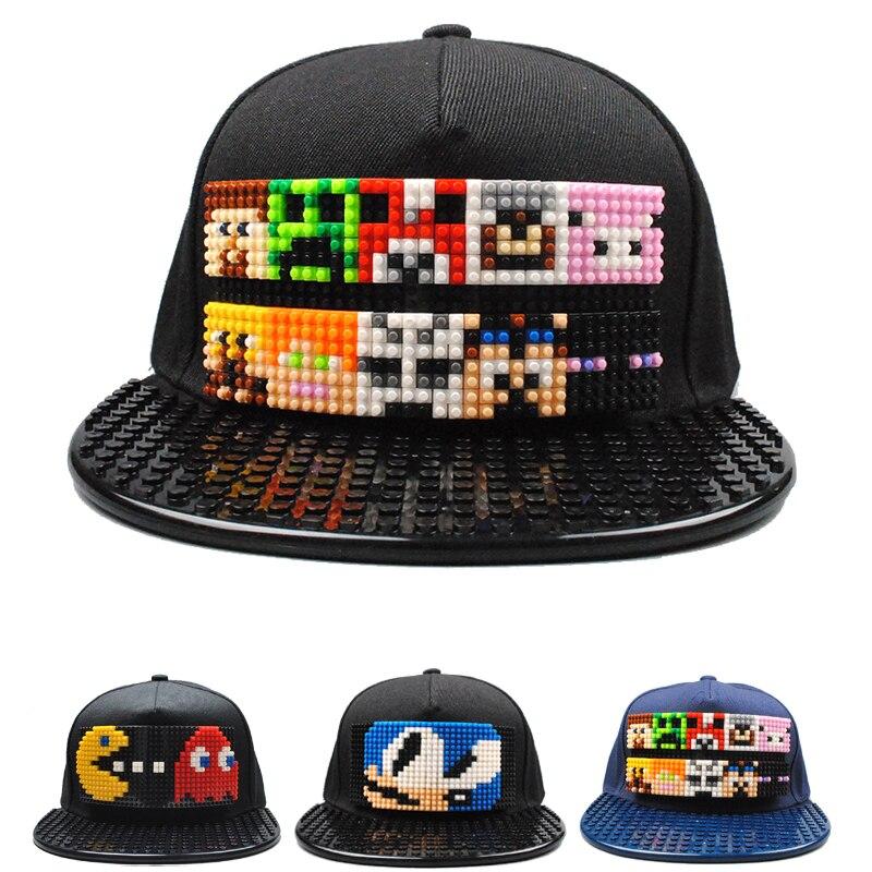 Hip-Hop Hat Bucket-Hat Blocks Baseball-Cap Snapback Qbert Super-Mario-Bros Women Detachable
