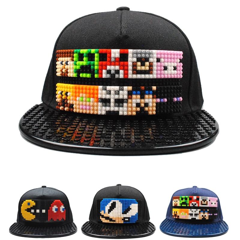 Super Mario Bros Qbert Patchwork Baseball Cap Blocks DIY Hat Snapback Hip Hop Dad Hat for Men Women Detachable Men