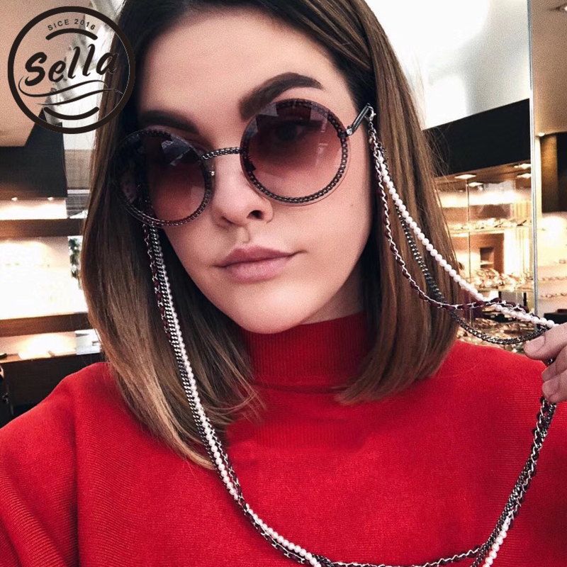 Sella New Trending Fashion Women Round Sunglasses Brand Designer Luxury Vintage Ladies Gradient Lens Clear Eyewear Glasses Shade