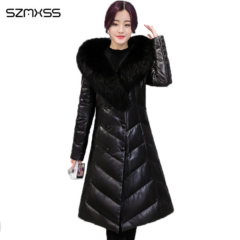 2018 Fur collar   parka   suit collar solid color double-breasted PU leather long-sleeved winter coats Thick hooded campera mujer