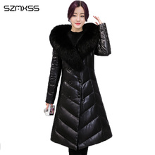 2018 Fur collar parka suit collar solid color double-breasted PU leather long-sl