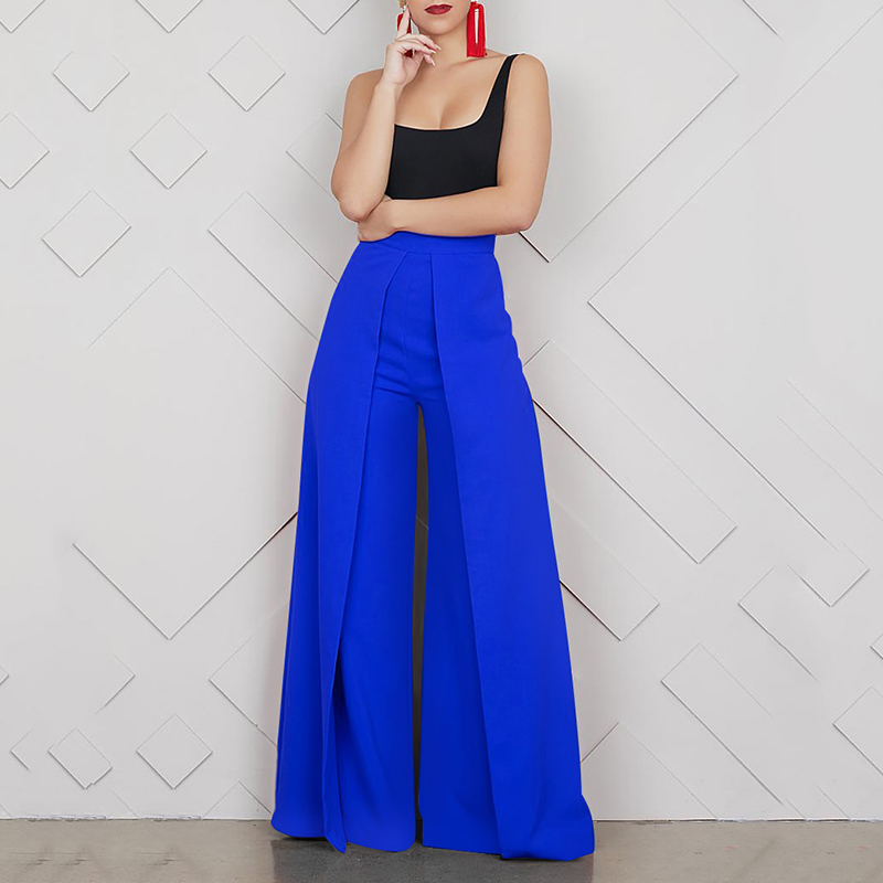 Ladies Baggy High Waist Wide Leg Summer Long Zipper Pants