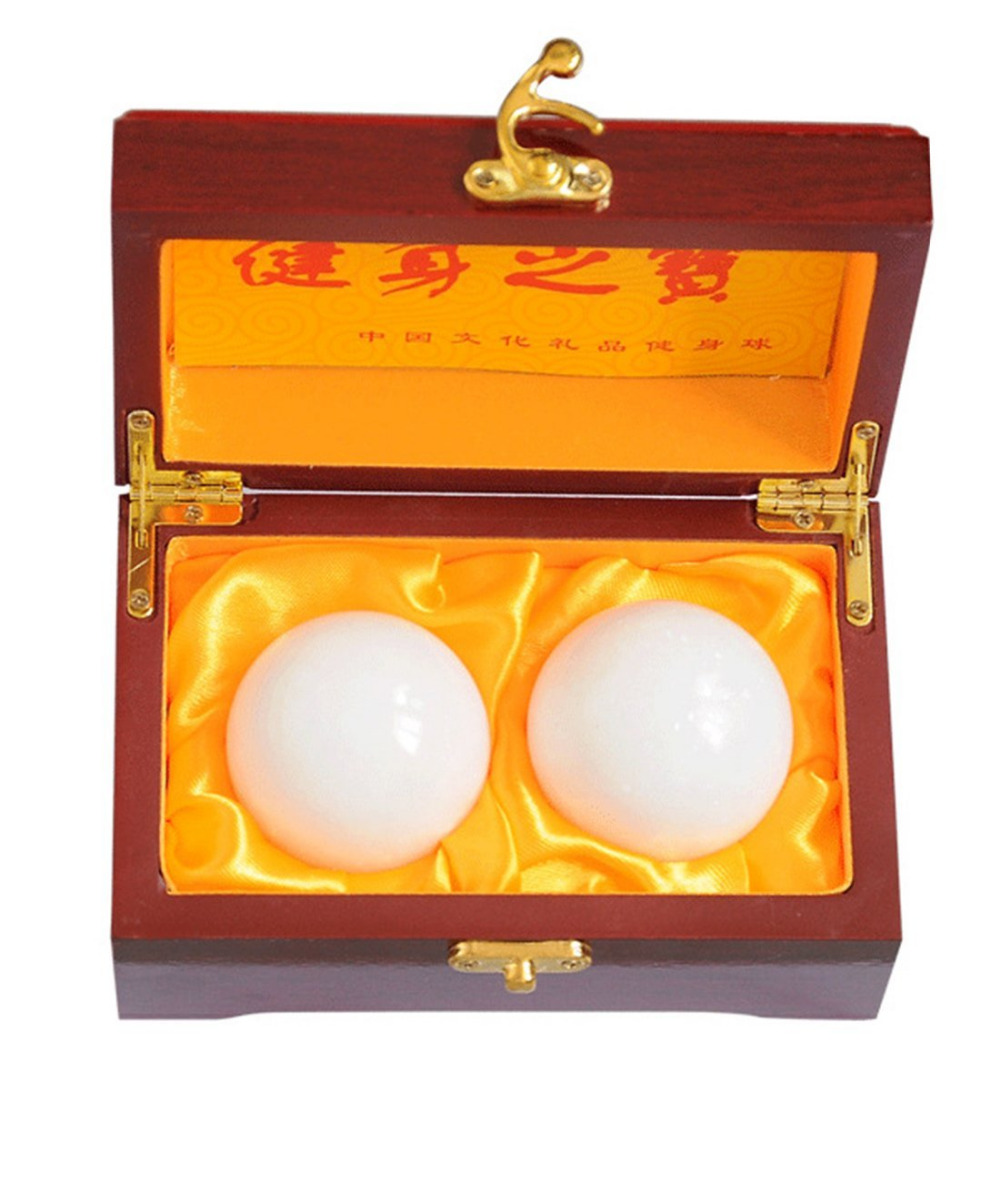"2 ""Natural Jade Stone Baoding Fitness Balls Chinese Health Exerci Stress Hand Balls With Gift Box W2352"