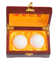 "2"" Natural Jade Stone Baoding Fitness Balls Chinese Health Exercise Stress Hand Balls With Gift Box W2352"