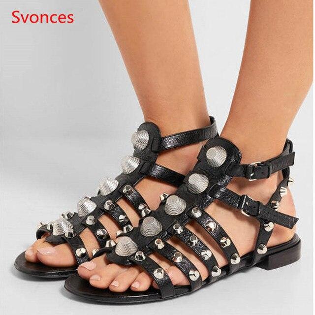 2b14fb9576b0 New Spikes Women Gladiator Sandals Rivet Metal Decoration Summer Shoes Women  Studded Flats Sandal Peep Toe Buckles Zapatos Mujer