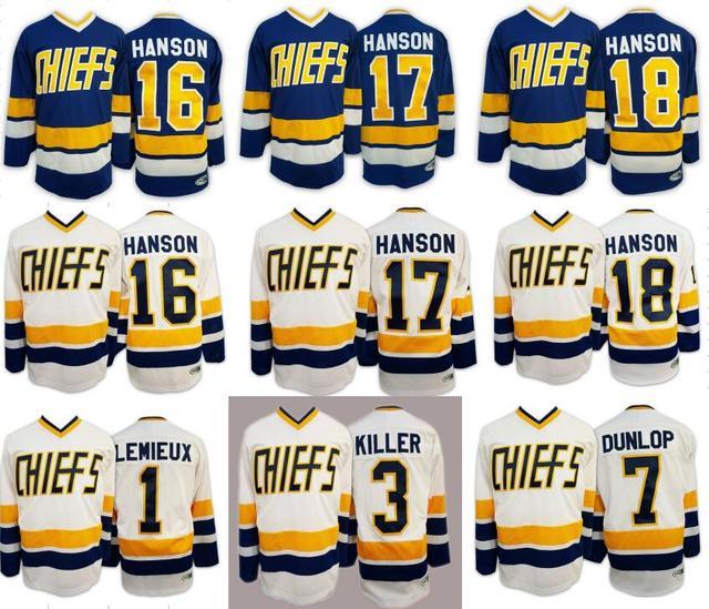 Hokej na lodzie Jersey Hanson Bracia Policzek Strzał Chiefs Charlestown Hokej Jersey 1 #3 #7 #16 #17 #18 # Retro Hokej Koszulki USA Rozmiar