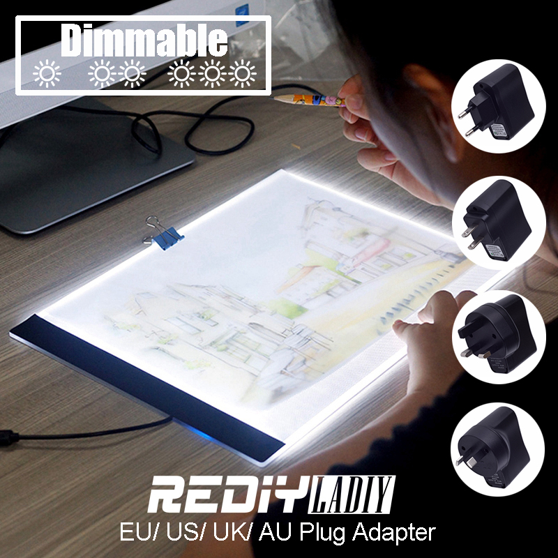 Regulable Ultra delgado A4 LED de luz USB de la tableta Cable EU/UK/AU/adaptador de enchufe de diamantes bordado pintura diamante Cruz puntada