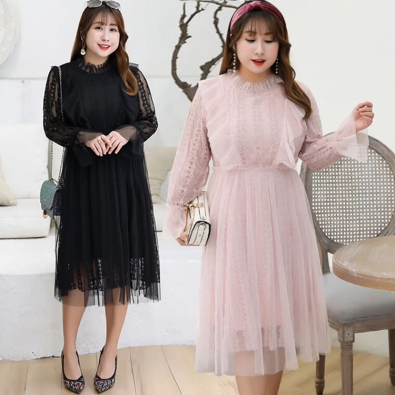 Ubetoku 2019New women spring dress sweet flower lace hollow out petal collar dress plus size women
