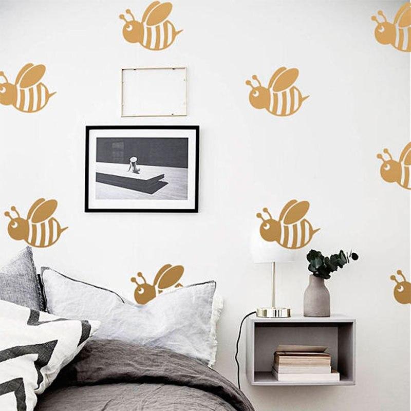 Cute Bee Wall Sticker For Kids Room Children Home Decorative Fashion Nursery Decor Baby Art Wallpaper