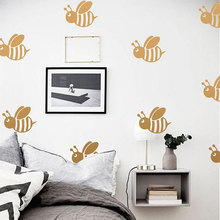 Cute Bee Wall Sticker For Kids Room Children Room Home Decorative Fashion Nursery Home Decor For Baby Room Art Wallpaper cute modern planet star universe space wallpaper for kids room boys nursery room decor