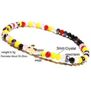 Image 5 - New Arrival Crystal Bracelet Women Girl Cute Small Cross Charm Ladies Braclet Yoga Prayer Jewelry Strand Braslet Moda Mujer Gift