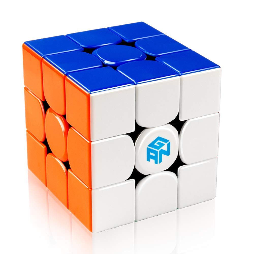 D-FantiX Gan 356 R 3x3 Speed Cube Stickerless Gans 356R 3x3x3 Magic Cube Puzzle GES V3 System Extra Bonus Blue Pouch