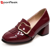 MoonMeek 2017 New Arrive Women Pumps High Quality Patent Leather Fashion Shallow Med Heels Single Shoes