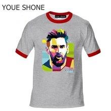 6dc5435366 Dos homens T-shirt 100% Algodão Camiseta Tops Argentina Messi Jersey Para  Fãs TShirt NOVO Barcelona Lionel Messi Tees de manga c.