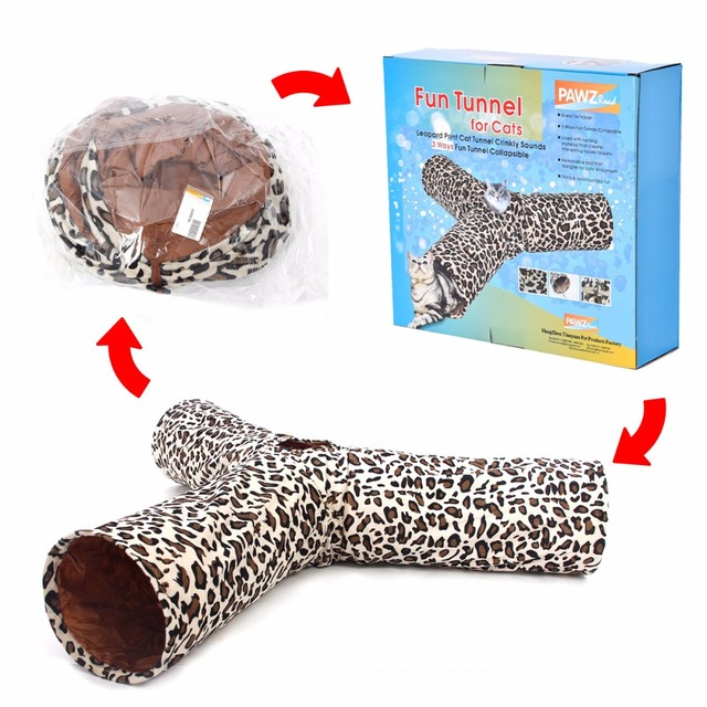 Cat Tunnel Leopard Print Crinkly 3 Hole