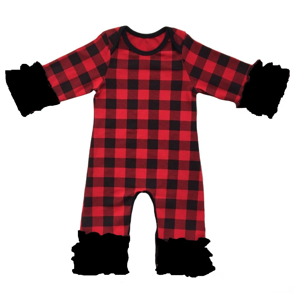 Christmas Wholesale Baby Icing Ruffle leg Romper Boutique Newborn black&Red Buffalo Plaid pajama gowns sleepers baby Jumpsuit kids ruffle tie neck striped romper