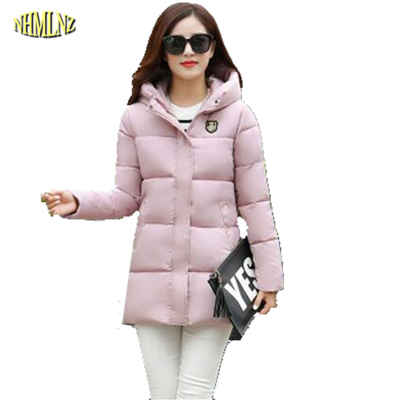 2017 New Thick Medium long Winter Women Down Cotton Jacket Female Hooded Cotton-padded jacket Fashion Slim Warm Coat  G2895 winter women down jacket hooded thick warm cotton coat large size new style casual jacket slim long sleeve medium long coat 2580