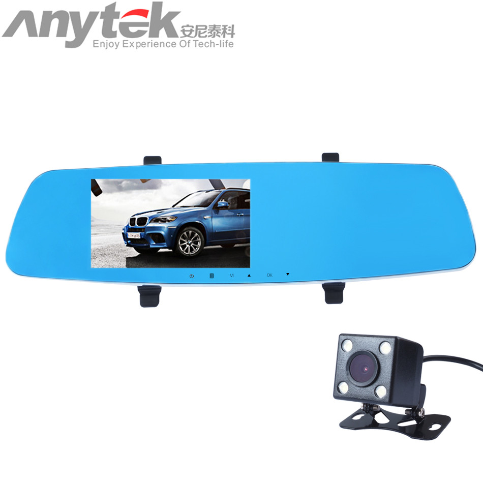 Anytek T10 WDR Dual Lens Auto DVR Camera Car Video Recorder Rearview Mirror 1080P G-Sensor Motion Detection Dash Cam 60
