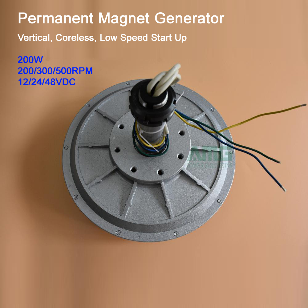 200W 200 300 500RPM 12 24 48VDC Low Speed Low Start Up for DIY Permanent Magnet