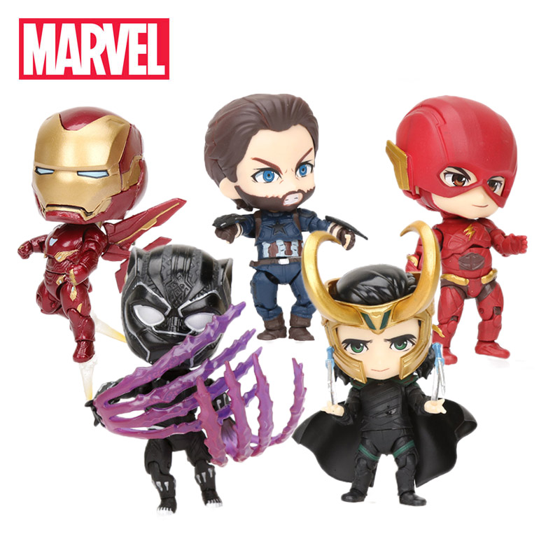 8-9cm Marvel Toys Nendoroid Avengers Infinity War Ironman Mk50 PVC Action Figure Black Panther The Flash 917 Collectible Model(China)