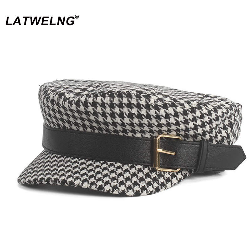Women Vintage Hat Autumn Winter Fashion Plaid Octagonal Hats,Ladies Newsboy Caps PU Belt Visor Cap,Black French Hat