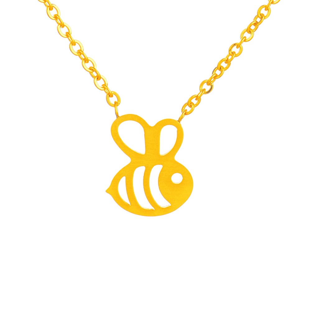 N00271 <font><b>Honey</b></font> Bee Necklace 2016 Cute Bumble Bee Choker Stainless Steel Women Jewelry Gold Silver HoneyBee Necklace