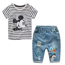 New Infant Boys Girls Summer Mimmie Mickey Striped T Shirt + Denim Shorts Clothes Sets Children Kids Hole Jeans Clothing