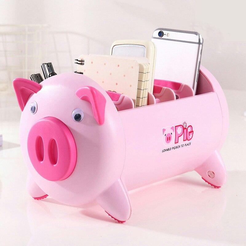 Cute Pig Shaped Desktop Storage Box Office Desk Stationery Organizer Durable Table Sundries Phone Remote Control Storage Holder