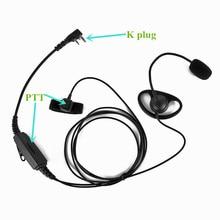 2 контактная гарнитура с K разъемом, наушники с двойной кнопкой PTT для BAOFENG, двусторонняя радиосвязь