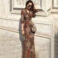 2017 Весна Лето Женщин V-образным Вырезом Купированные Рукавом Высокой Талией Пейсли Распечатать Maxi Wrap Платья Дамы Long Beach Dress