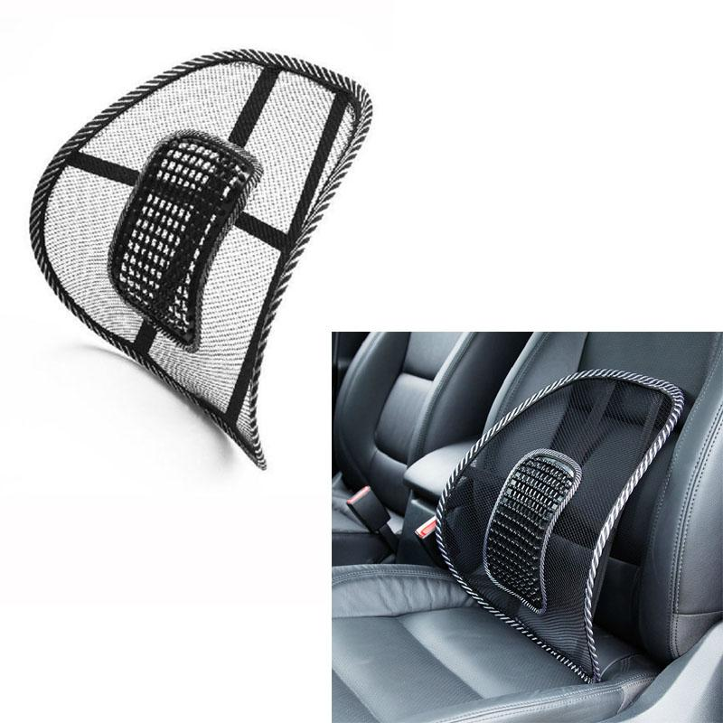 Mesh Cloth Car Seat Cushion Lumbar Waist Support Lumbar Pillow Automobiles Office Chair Relief Back Pain Auto Accessories Black