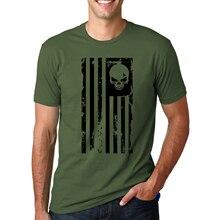 Punisher Skull Flag Printed Summer Fashion Short Sleeve O-Neck Men's T-shirt